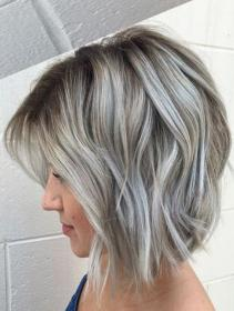 Many Dimensional Silver Grey Hair Color Ideas for Short