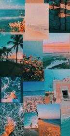 Coral and blue wallpaper Aesthetic pastel wallpaper