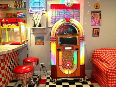 My 1950's Diner with Juke Box My husband made it Diner