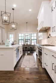 farmhouse brick kitchen modern cabinets industrial kitchens exposed decor