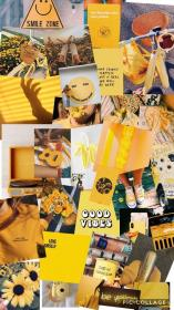 aesthetic collage outfits yellow iphone