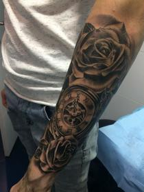 Awesome Rose & Clock Tattoos For Men Clock tattoo sleeve