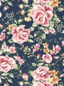 Navy Blue and Mauve Pink Floral Print iPhone Background