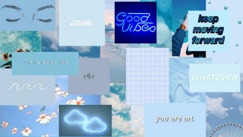 Aesthetic wallpaper laptop soft baby pastel blue in 2020