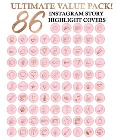 pink instagram highlight icon icons story covers gold rose etsy highlights insta pack birthday sold feed tree