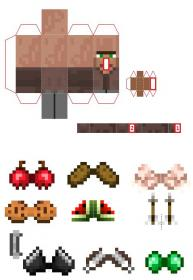 Papercraft Mini Villager (with Items) Manualidades de