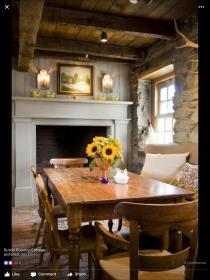 cottage european chic decor dining shabby cozy fireplace living discover pretty table