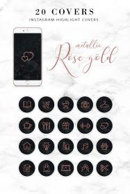 instagram highlight gold story rose highlights icons marble profile covers pink stories custom background pretty iphone metallic template