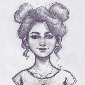 buns space pencil drawings draw sketch drawing hair easy sketches instagram put cool much
