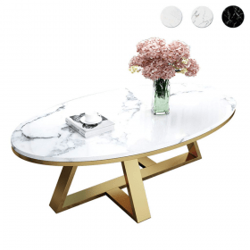coffee table oval marble modern stainless steel simple living tables tea apartment apartments