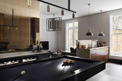 table apartment interior basement pool open industrial princess living plan bar park wall mirror games kitchen manor marble stools