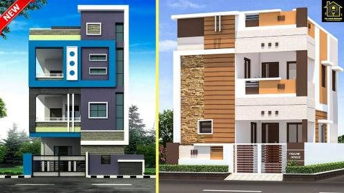 elevation floor double designs building modern plan outside wall village architecture town 3d