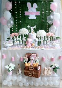 party birthday rabbit theme themed bunny table dessert baby decorations shower cute easter take parties rabbits birthdays adult