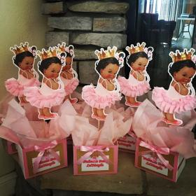 shower centerpieces centerpiece table princess decorations african royal birthday tutu showers afro puff themes favors theme events royalty babyshower pieces
