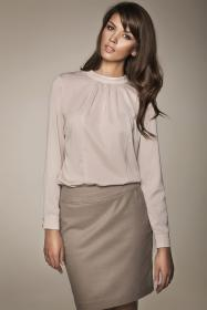 blouse collar stand chic beige office blouses models elegant