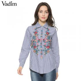 sleeve floral shirts cotton striped down tops aliexpress ladies collar embroidery turn elegant blouse casual blouses sweet stripe