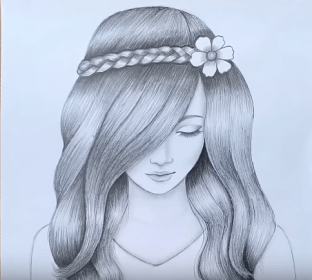 pencil drawing sketch draw drawings sketches easy beginners simple hair step face htdraw girly
