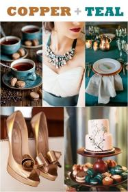 teal copper colors weddings peacock fall schemes philippines shades dark september decorations jewel bridesmaids gold turquoise dresses themes combinations motif