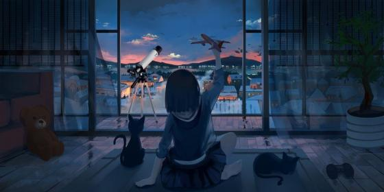 anime aesthetic desktop night scenery sky moescape 1080p computer wallpapers backgrounds landscape character reddit