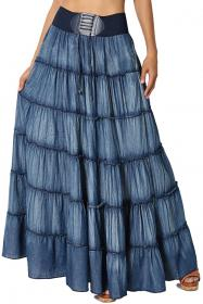 TheMogan Embroidered Tiered Flare A Line Smocked Waist