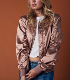 jacket bomber gold rose satin shophearts jackets metallic leather outfits lightweight