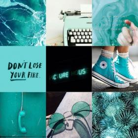 aesthetic collage teal turquoise collages character theme