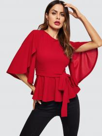shein split sleeve blouse belted blouses half flared peplum elegant office lady solid workwear zipper spring ladies casual tops flare