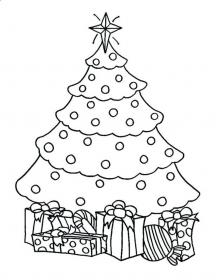 tree christmas coloring presents pages gifts trees outline drawing chrismas blank template children artificial printable print each many sold getdrawings