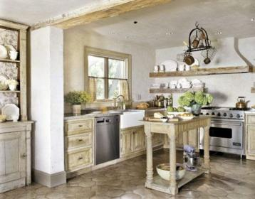 kitchen country kitchens chic decor shabby rustic cabinets farmhouse island wall simple countryside modern tile designs english cottage inspiration mosaic