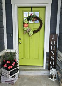 door decor doors porch decorating exterior lime colors sign painted entryway paint spring area apple planter decoration skies ahead signs