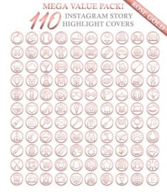 rose gold icons icon instagram highlight covers story background highlights heart etsy mega value pack plane notes