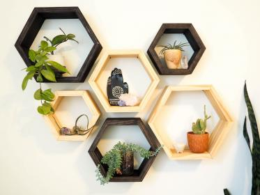 hexagon shelves modern floating wall etsy honeycomb mount sizes stain easy three shelving choices colors geometric bedroom allison innovations hileman