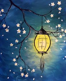 painting easy canvas beginners acrylic paintings beginner simple lantern night diy drawing