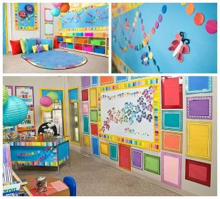 classroom preschool wall kindergarten decor rainbow paint theme themes decoration toddler daycare colors walls setup primary chip decorations diy themed