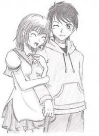 drawing pencil drawings boy outline couple sketches glass animated sketch painting paint anime easy cute couples designs flowers hair