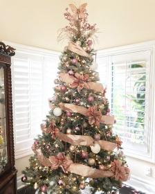 christmas tree rose gold decor decorations trees holiday pink decoration xmas ribbon blush themes elegant homedit update simple victorian champagne