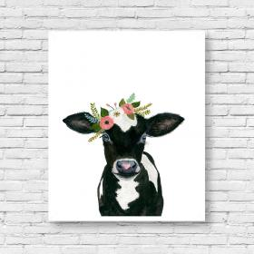 farm cow animals watercolor baby calf painting flower prints nursery print animal paintings horse decor babby floral etsy visit vaca