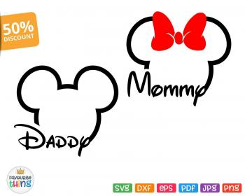 svg mouse outline mickey minnie disney head mommy disneyland daddy