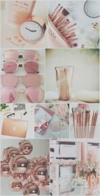 girly collage cute iphone gold rose wallpapers hd aesthetic cool backgrounds makeup pink background pastel pretty resolution ipad lock screensaver