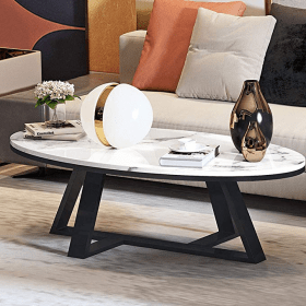 coffee living stainless steel table modern tables simple household marble oval tea