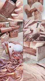 aesthetic rose gold collage pink theme wallpapers cute purple cor makeup iphone pastel mode background bling rosa nossa lindaa parede