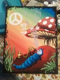 painting trippy canvas stoner paintings hippie drawings easy aesthetic mushroom acrylic simple stone diy discover visit psychedelic weed paintingvalley painted