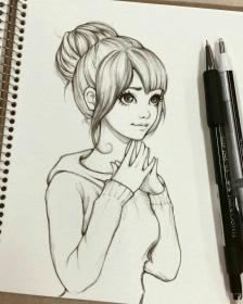 pencil drawings easy sketches drawing sketch girly simple anime illustration