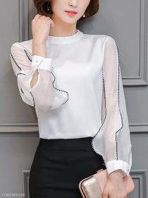 chic band blouses stitching contrast collar berrylook blusas guardado desde hollow blouse nowechic dressynew spopez