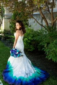 dresses peacock teal airbrushed colored ombre painted gown gowns bride pretty paul dye dream colors
