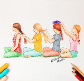 friends drawings friend forever friendship bff draw drawing bffs four hairs comb sisters amazing pretty bubble besties doing stuff illustration