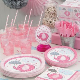shower baby pink elephants supplies party decorations favor walmart