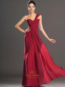 Elegant Red One Shoulder Chiffon Prom Dress With Pleated