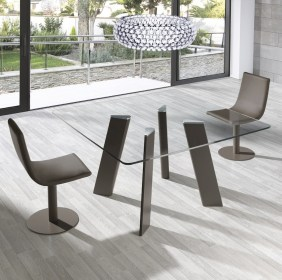 dining glass square table tables modern shimmering impress moderndiningtables legs play designs furniture several colours matt finished both steel cadira