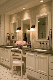 New York double pedestal sink Bathroom Traditional with